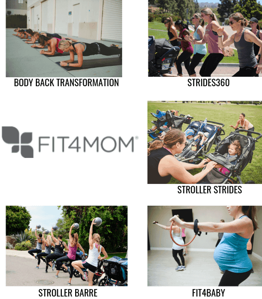 Several of the programs offered by Fit4Mom: Body Back Transformation, Strides360, Stroller Strides, Stroller Barre, and Fit4Baby.