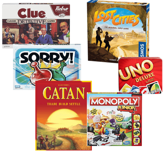 Games for family game night: Clue, Lost Cities, Uno, Monopoly, Catan, Sorry