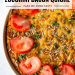 A beautiful gluten free crustless zucchini bacon quiche topped with sliced tomatoes.