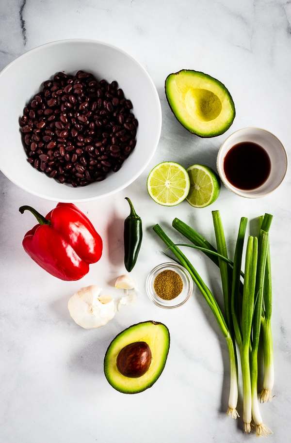 Simple ingredients to make avocado black bean salsa.