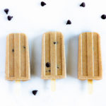 Chocolate chip cookie dough popsicles in a popsicle mold waiting to be eaten.