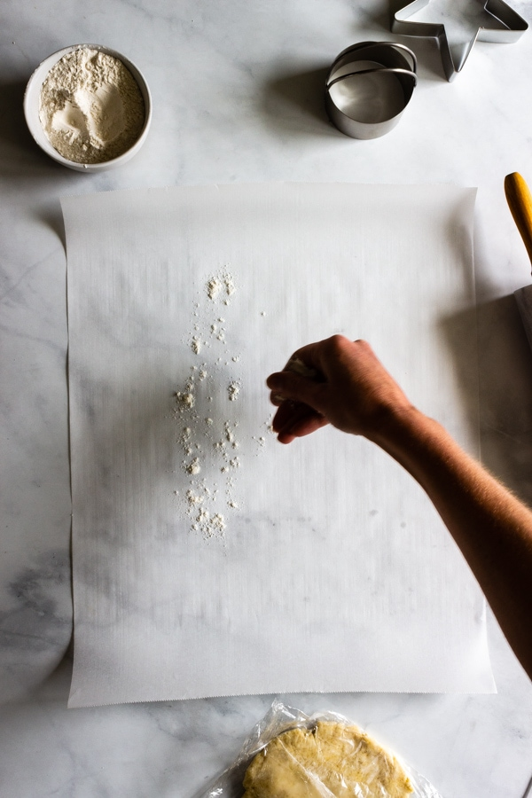 A hand is dusting flour on a piece of parchment paper.