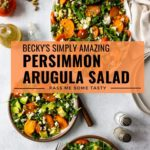 Someone is serving persimmon arugula salad from a large salad platter. Two plates of salad are nearby ready to be eaten.