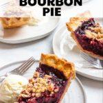 Four slices of blackberry bourbon pie served à la mode.