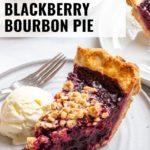 Sveral slices of blackberry bourbon pie served à la mode.