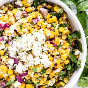 A big tasty bowl of Mexican Street Corn Salad, also known as Esquites.