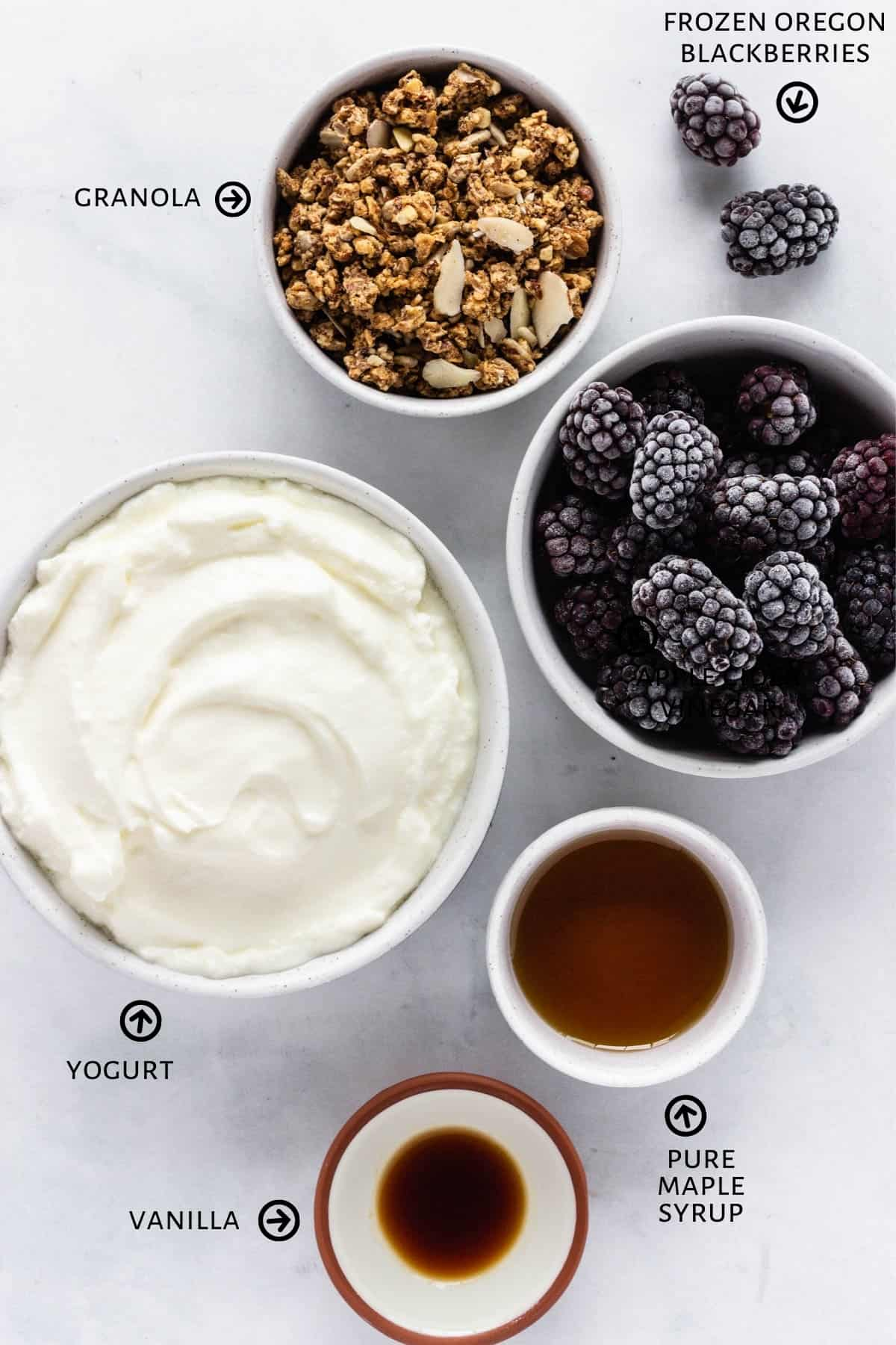 Ingredients for berry yogurt popsicles are laid out on the a counter: unsweetened plain yogurt, blackberries, maple syrup, vanilla, and granola.