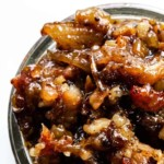 Looking down on a jar of bourbon bacon jam.