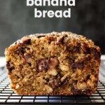 A close-up profile view of a slice of banana bread.