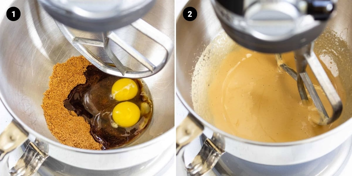 Process shots: add eggs and sugar to a mixing bowl; mix until mixture is light in color and thick.