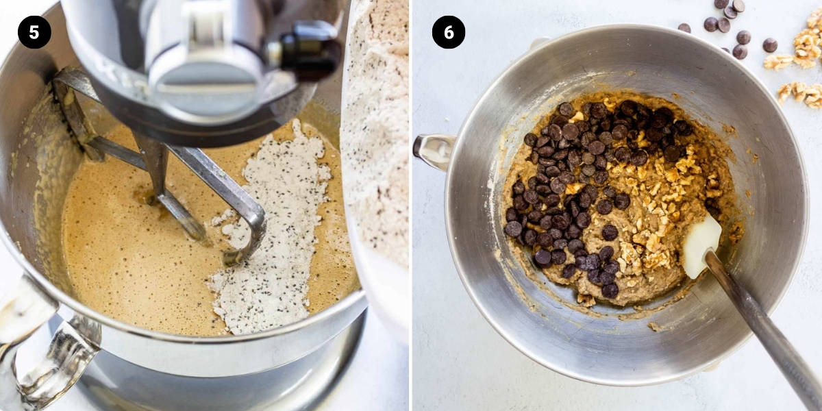 Process shots: remaining wet ingredients and dry ingredients are added to the bowl; chocolate chips and walnuts are mixed in.