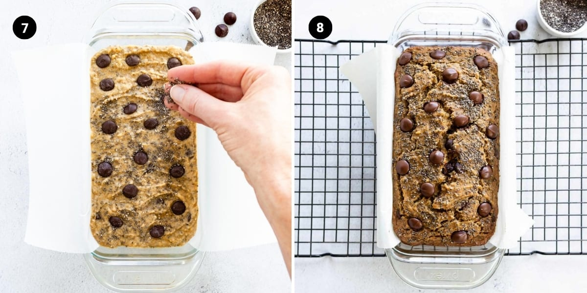 Process shots: transfer mixture to a loaf pan; banana bread is baked.