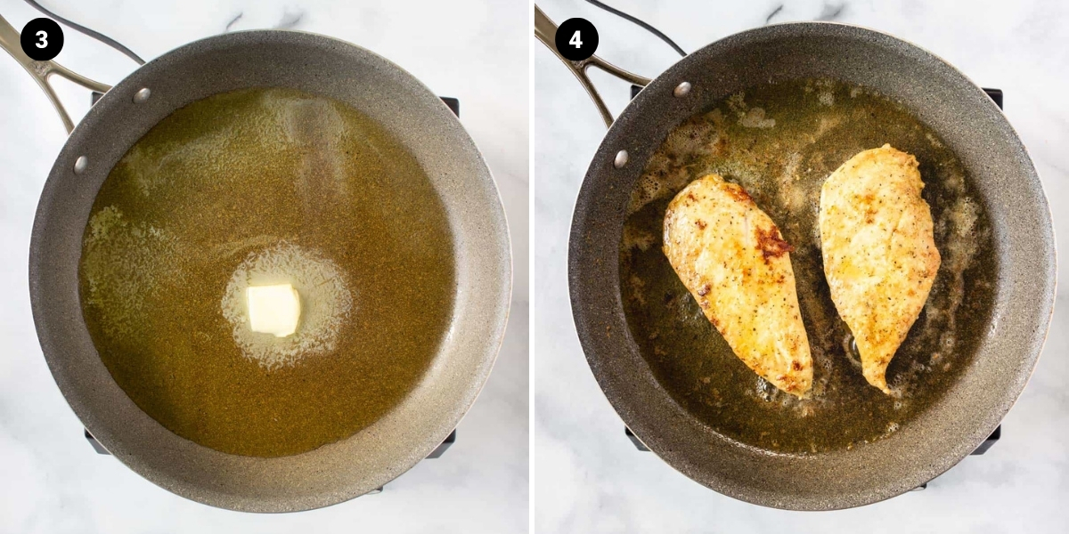 Add butter and olive oil to a pan. Add chicken to the pan.