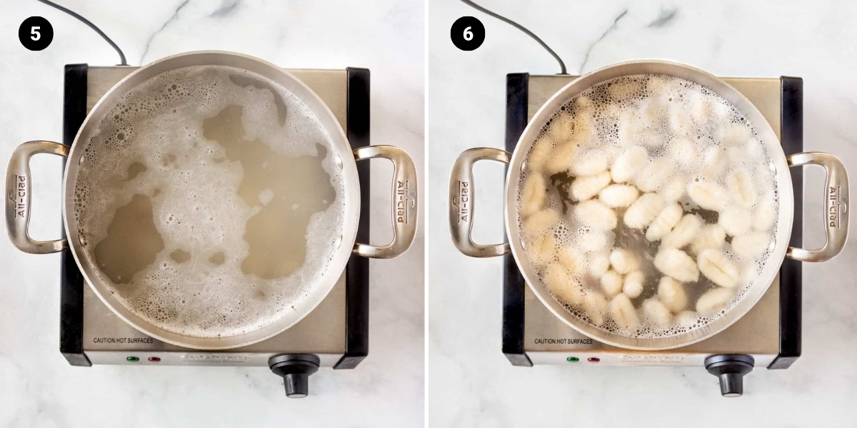 Add gnocchi to boiling water. Gnocchi begin floating once cooked.
