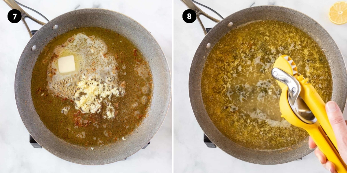 Butter and garlic are added to the pan. Then lemon juice, wine, and broth are added.