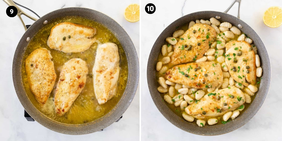 Chicken is cooked in a pan sauce. Gnocchi is added to the pan.