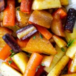 Roasted purple carrots, parsnips, and golden beets.