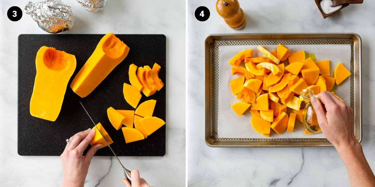Butternut squash is sliced and then drizzled with olive oil