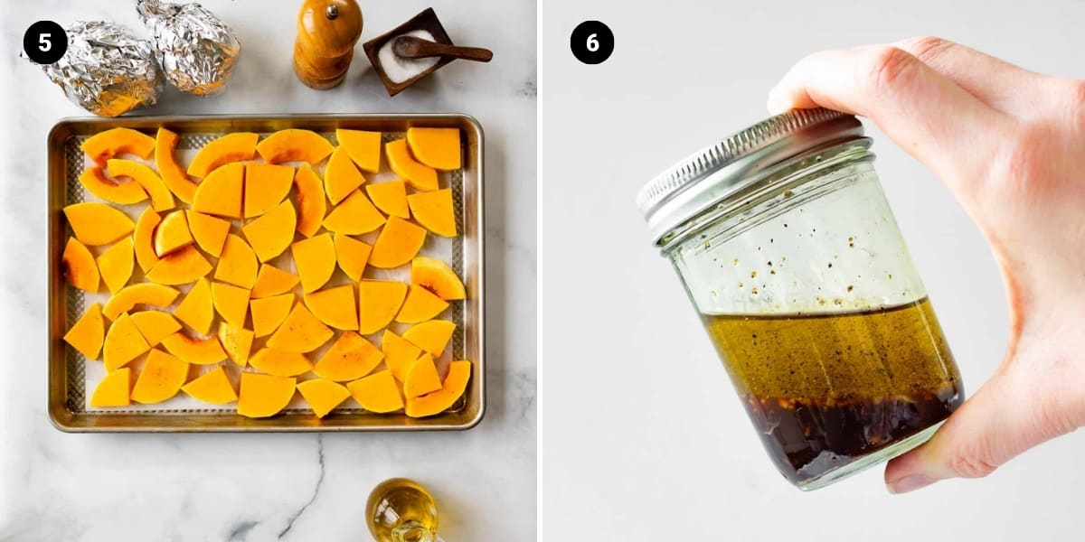 Butternut squash slices are spread out evenly on a pan. Vinaigrette is mixed in a jar.