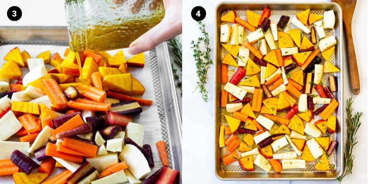 Honey-glaze is poured on veggies and veggies are spread out on a pan.