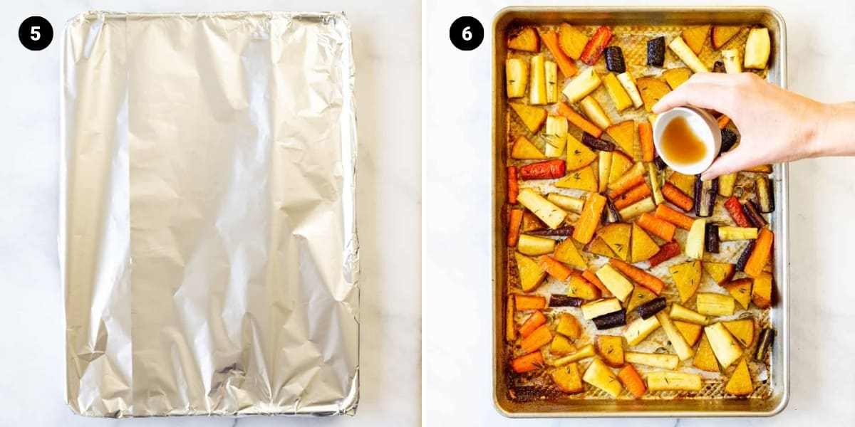 Veggies are covered with foil and roasted then topped with apple cider vinegar.
