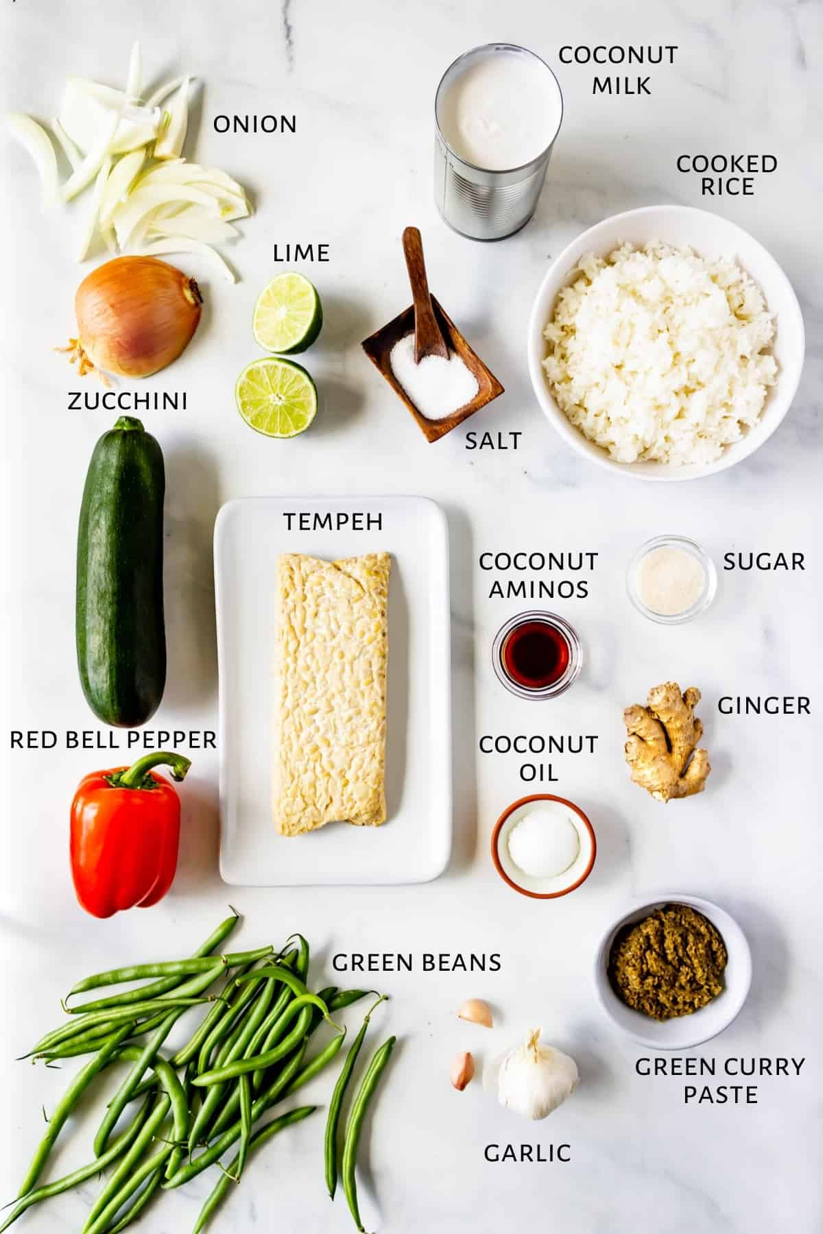 Ingredients for tempeh green curry.
