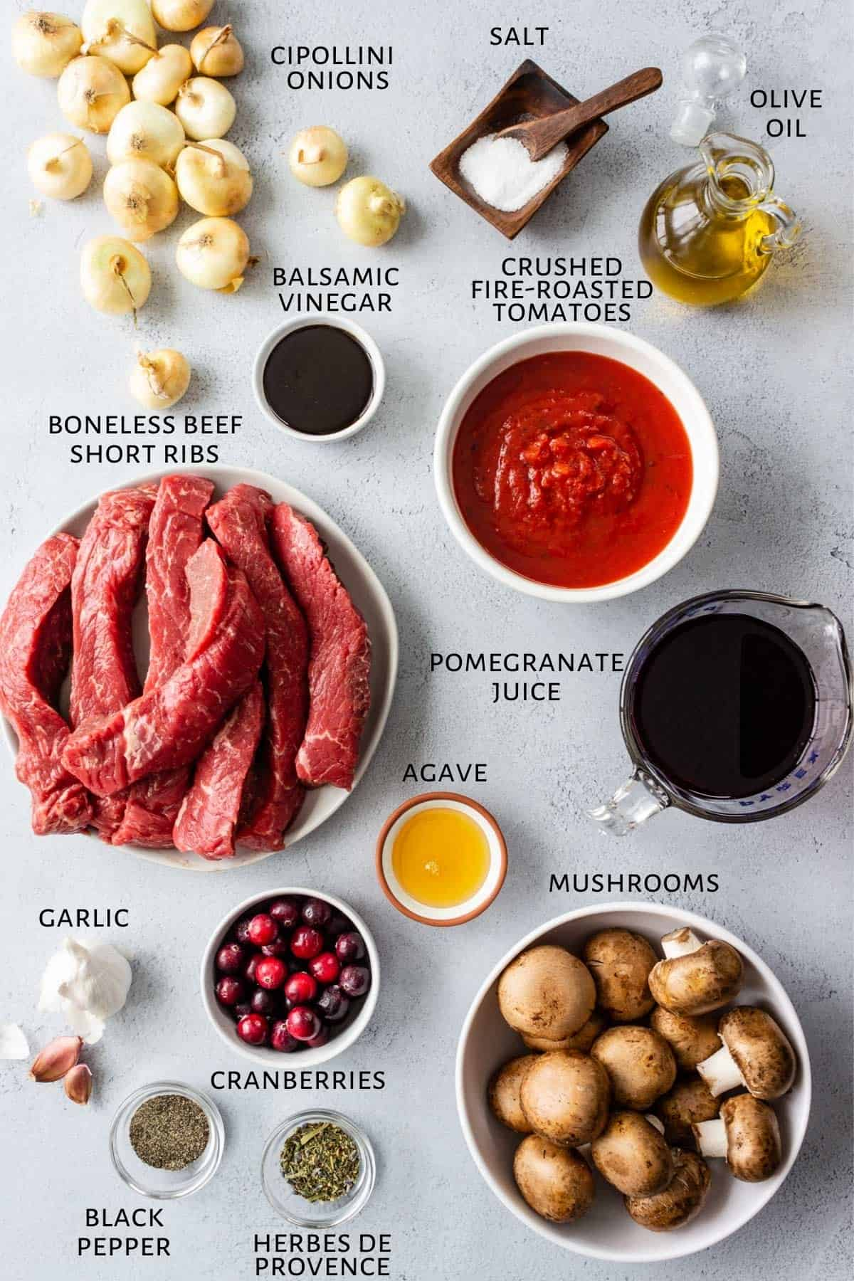 Ingredients for slow cooker beef ribs in pomegranate sauce are set out on a counter.