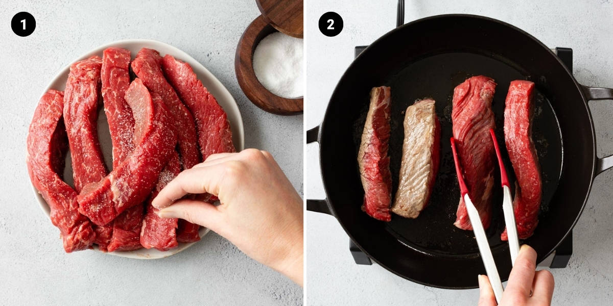 Beef ribs are salted, then seared in a hot cast iron pan.