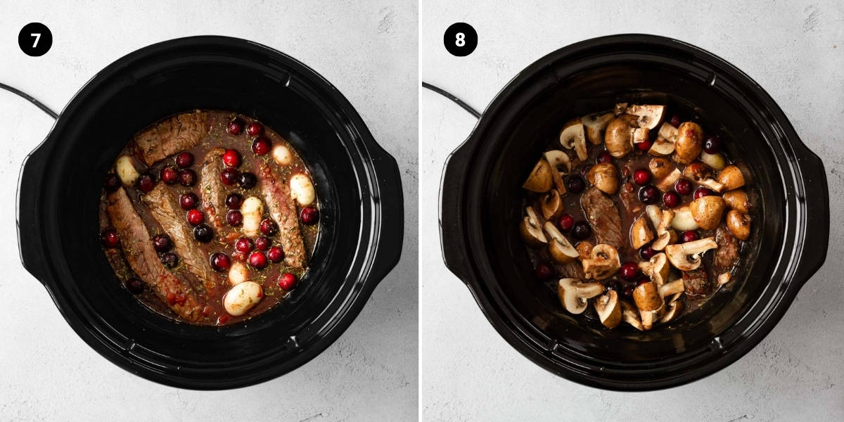 Place the beef ribs in the crockpot and add the mushrooms.