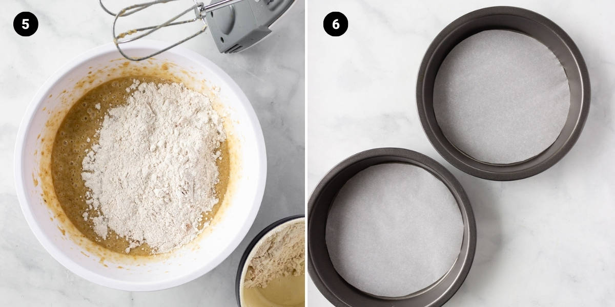 Dry ingredients are mixed into the cake mixture. Cake tins are lined with parchment.