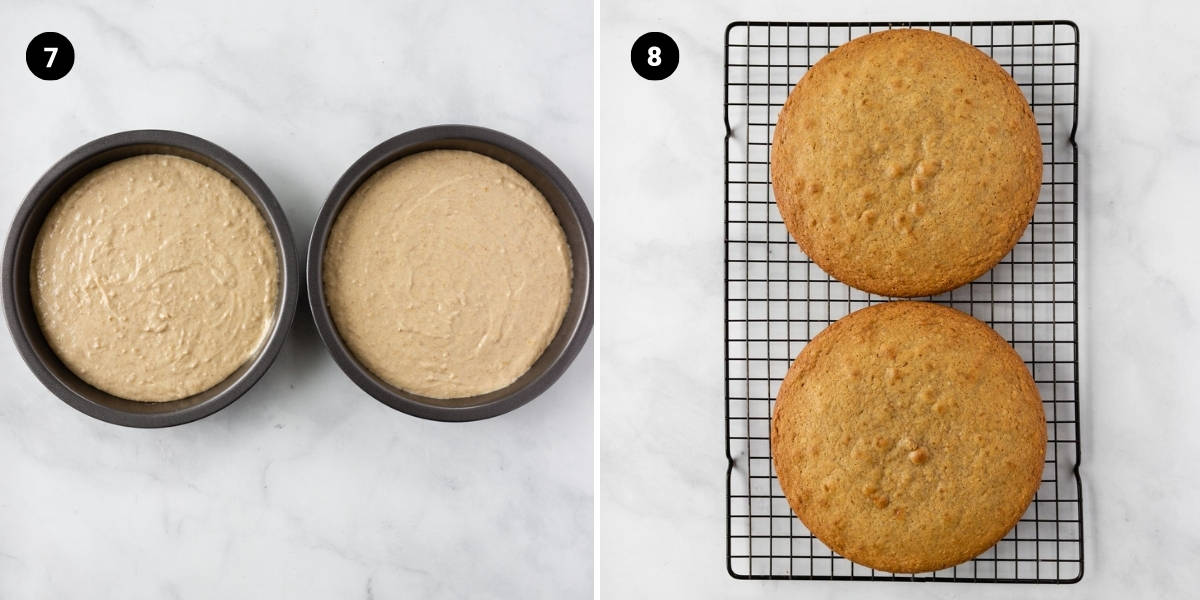Cake batter is poured into cake tins and baked to golden perfection.