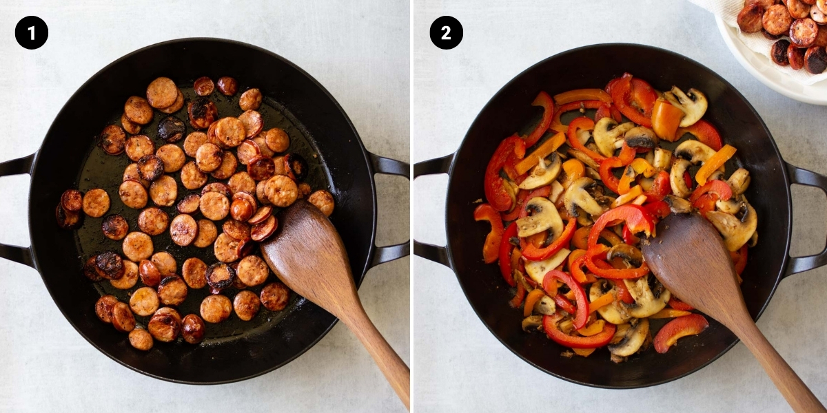 Sausage is sautéed in a pan, followed by bell peppers and mushrooms.