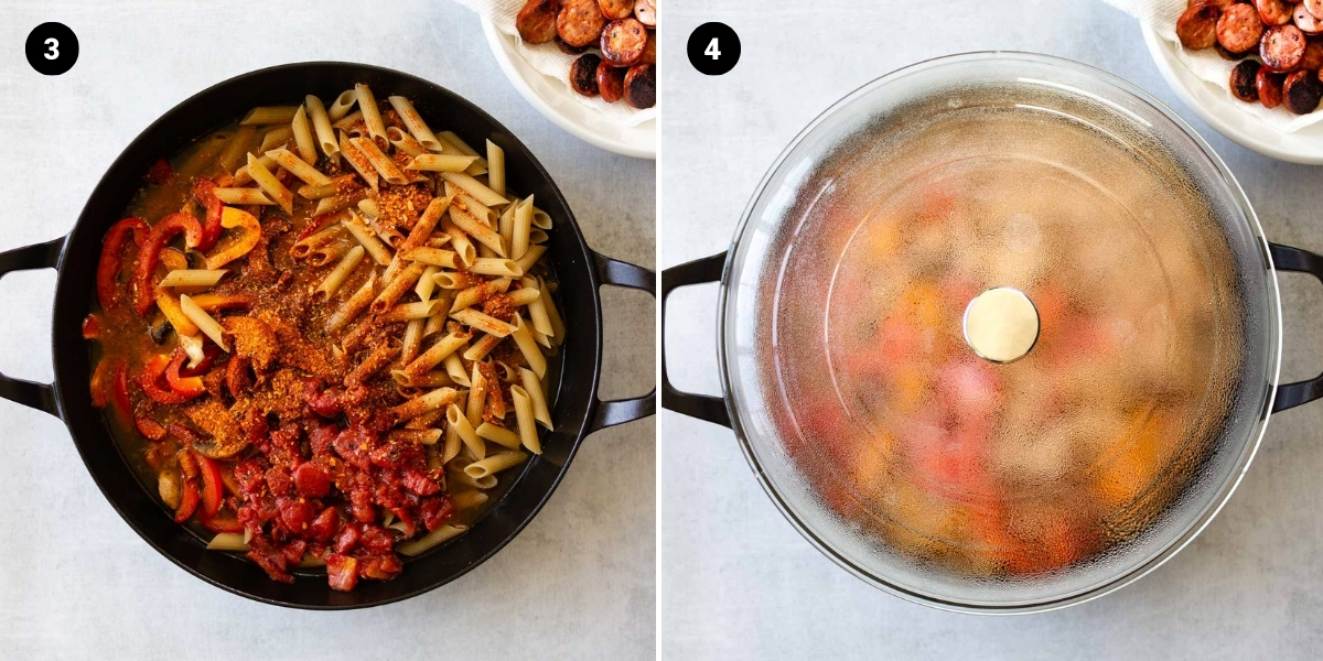 Pasta, spices, tomatoes, and broth are added to the skillet. The skillet is covered with a lid to cook.