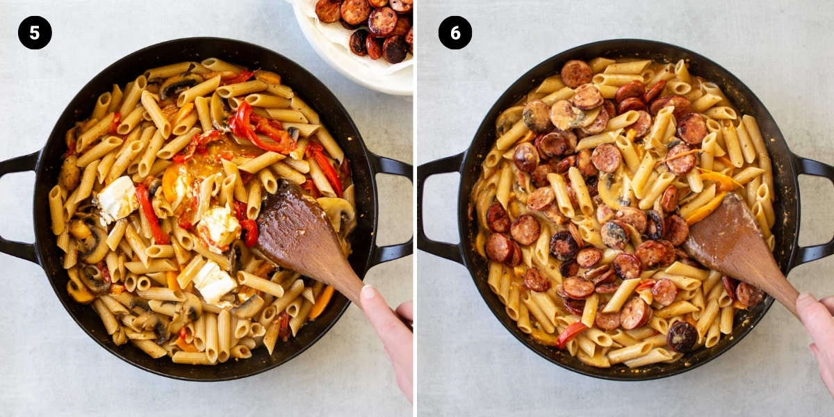 Stirring cream cheese into the pasta, then add the sausage back into the dish.