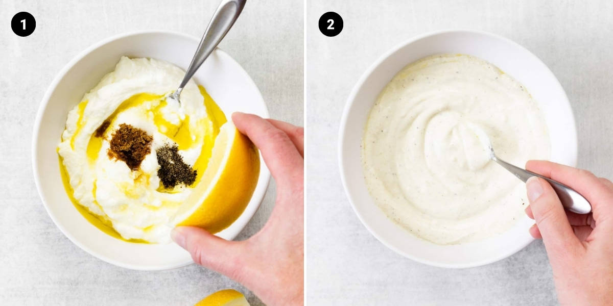 Ingredients for Greek yogurt sauce are placed in a bowl and stir together.