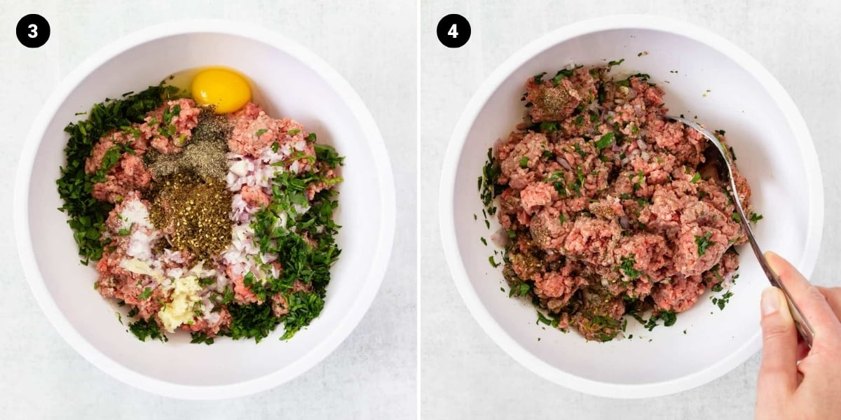 All of the ingredients for beef koftas are added to a bowl and then mixed together.