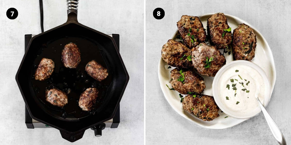 The koftas are cooked in a cast iron skillet and then served with Greek yogurt sauce.