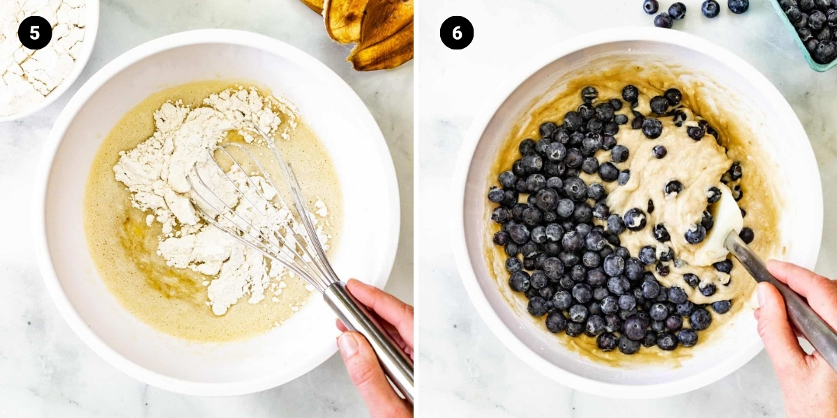 The dry ingredients are mixed into the wet ingredients. Blueberries are folded into the batter.