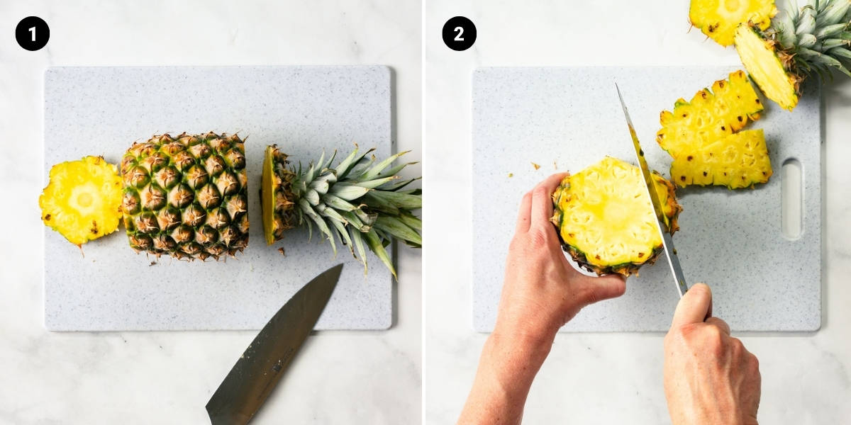 The crown, base, and sides of a pineapple are cut off.