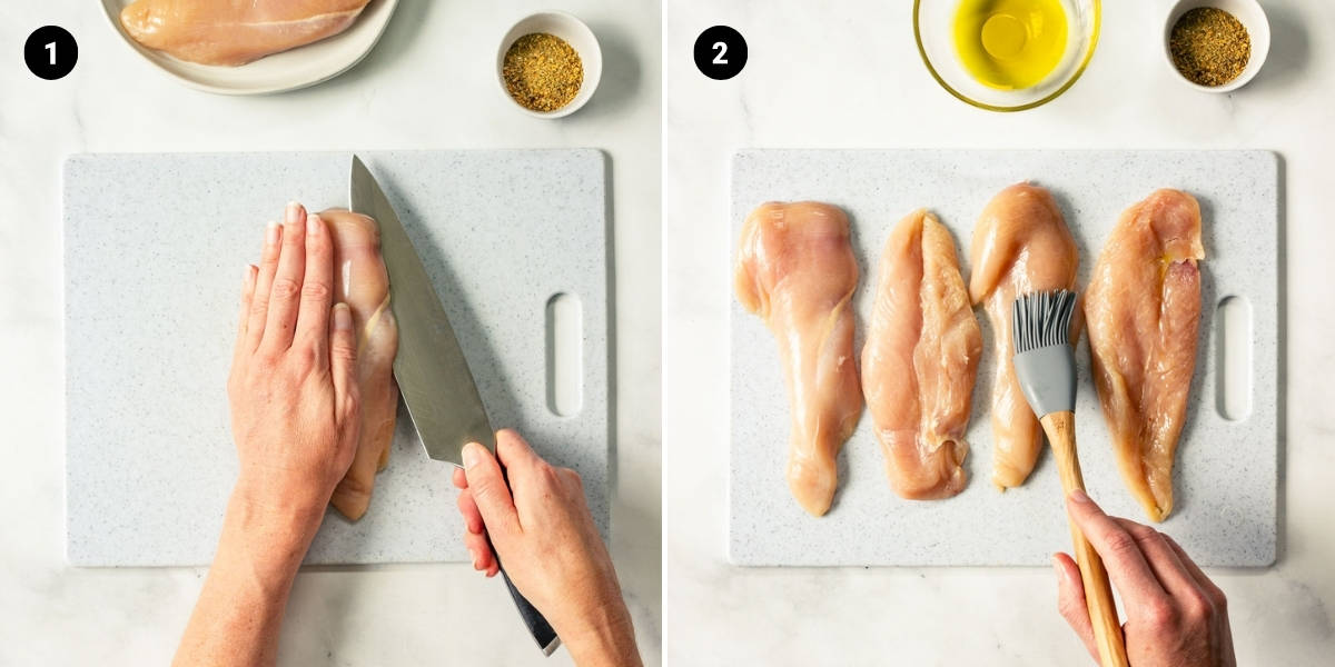 A chicken breast is sliced in half. Chicken is brushed with olive oil.