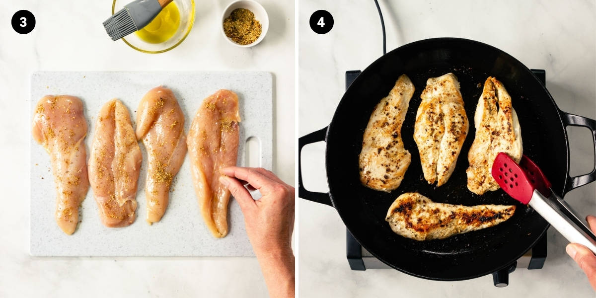 Chicken is sprinkled with seasoning and pan-fried.