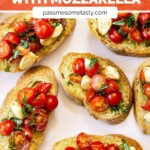 A pink plate serves cherry tomato bruschetta with mozzarella on slices of toasted baguette.