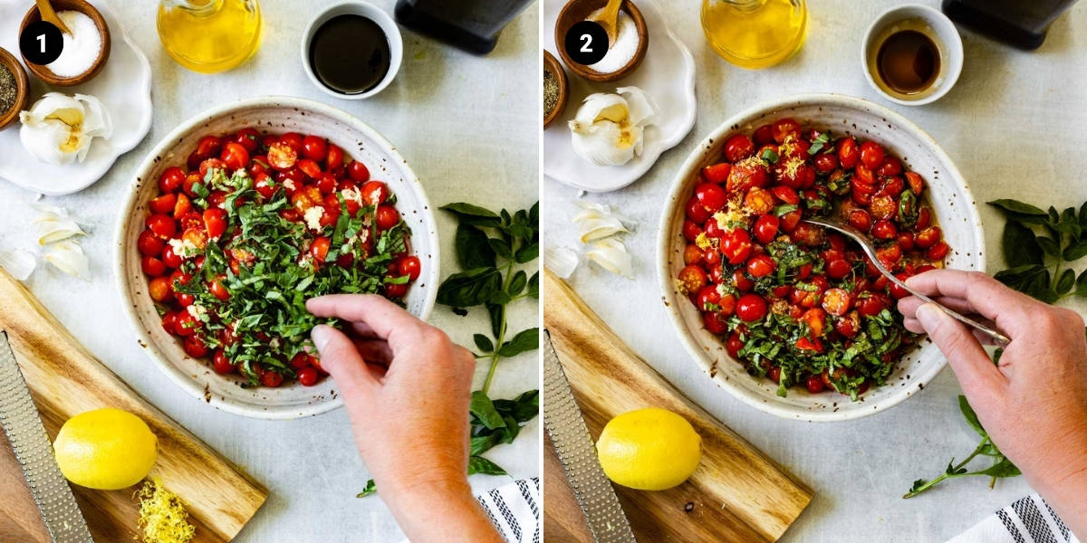a hand is adding ingredients for bruschetta into a bowl and then stirring them together.