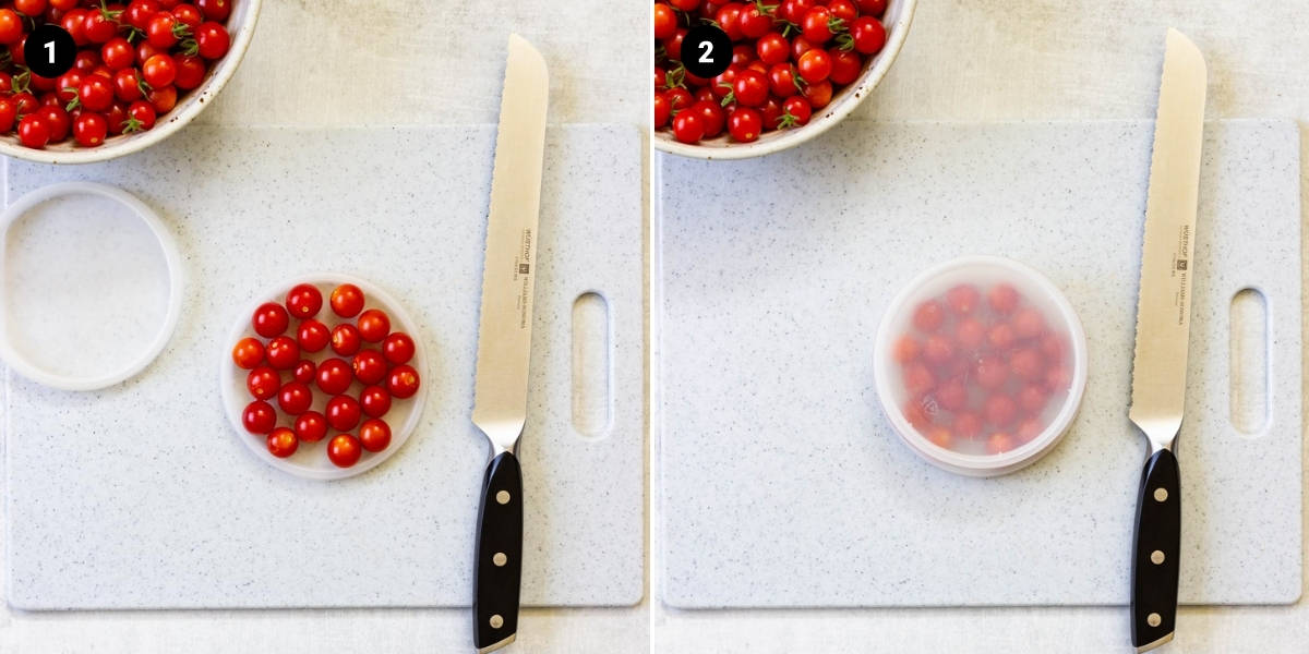 Cherry tomatoes are placed on a deli container lid. A second lid is placed on top.